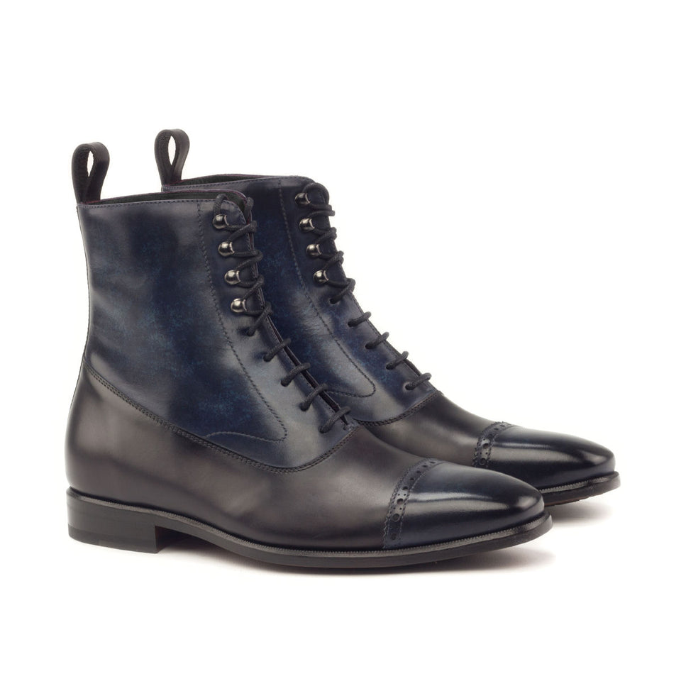 Black polished calf & denim crust patina
