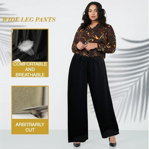 Plus Size Ice Silk Wide Leg High Waisted Women's Pants
