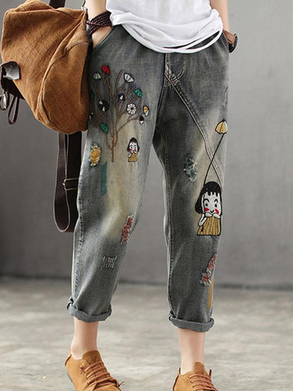 2020 Cute Girl Print Denim Jumpsuit Overalls