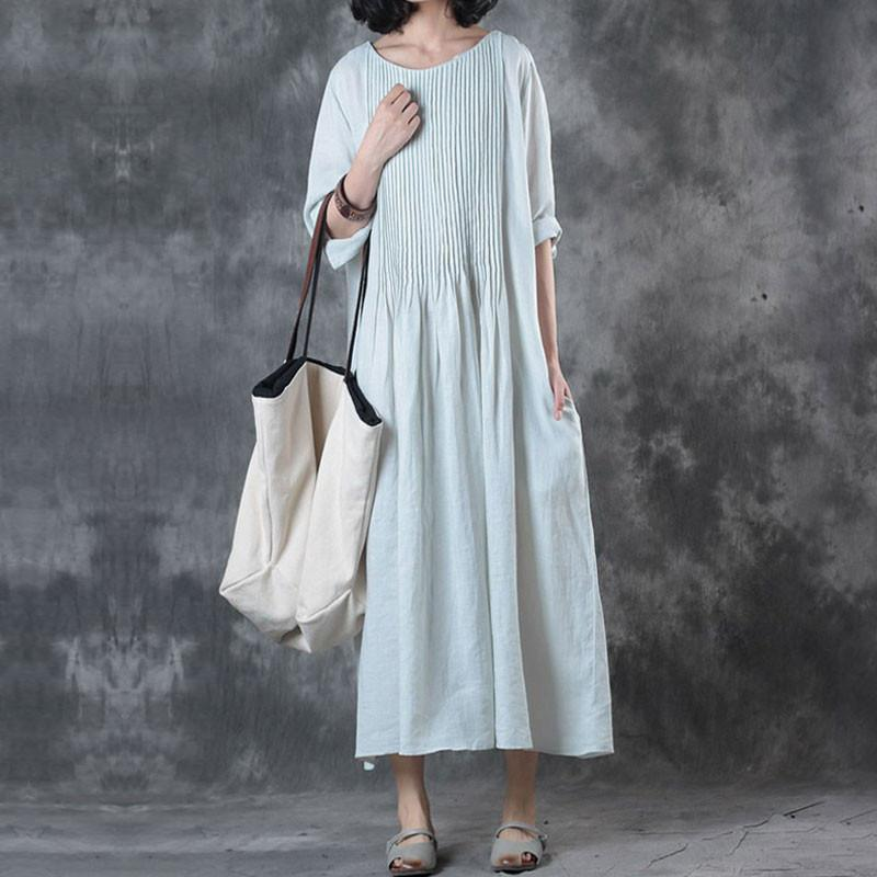 (Free Shipping)Solid Loose Folded Pocket Women Elbow Sleeves Green Dress