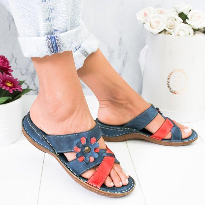 Women Flowers Summer Low Heel PU Holiday Slippers