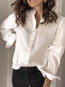 2020 Spring Summer Single-breasted Long Sleeve Women's Blouse