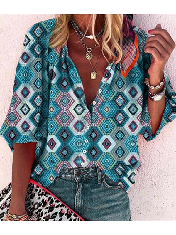2020 Spring Summer 3/4 Long Sleeve Geo Print Buttons Women's Blouse