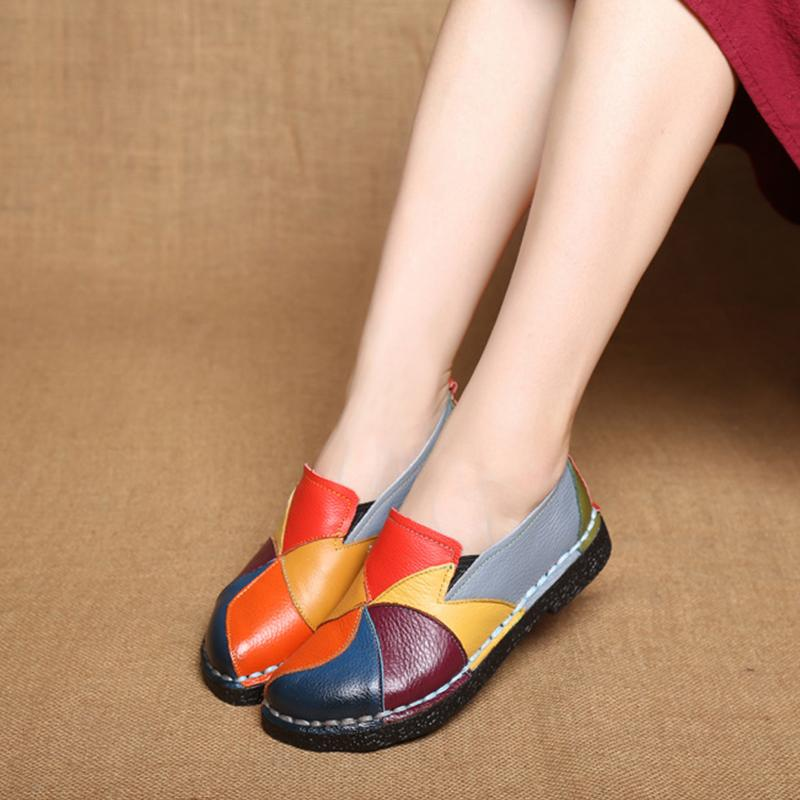 (Buy 2 Free Shipping) National handmade colorful leather shoes