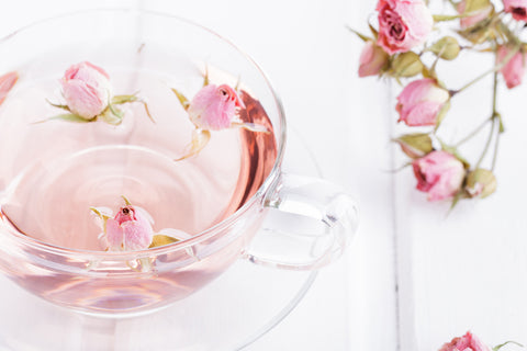 rose water as an ingredient in toners. this image is rose water in a cup showing the active ingredient in our asian beauty essentials toner