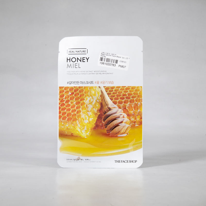 Real Nature - Honey Sheet Mask 20g (1pc) by The Face Shop | Intensely Moisturize and Nourishes your Skin
