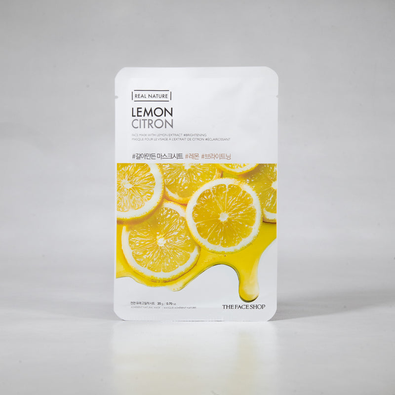 Real Nature - Lemon Sheet Mask (1pc) 20g by The Face Shop | Clearer and Brighter Skin