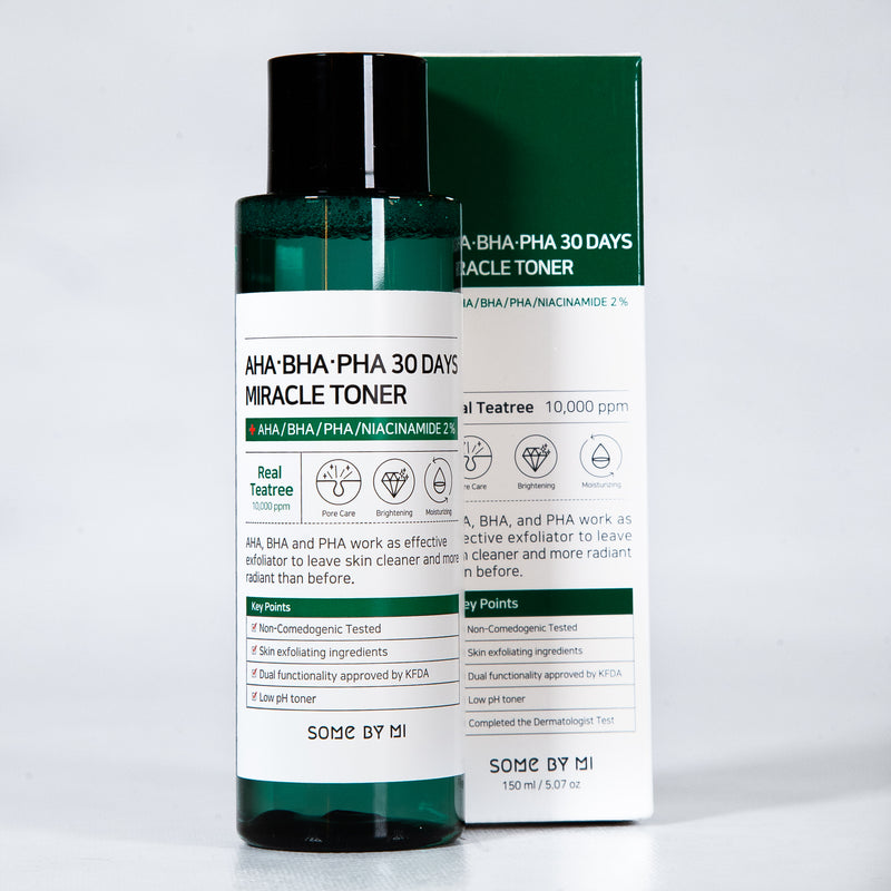 AHA, BHA, and PHA 30 Days Miracle Toner by Some By Mi Exfoliates your Skin Leaving a Radiant, Flawless and Hydrated Skin