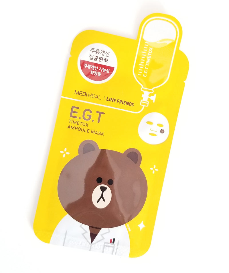 E.G.T Timetox Ampoule Mask Set 10pcs (Line Friends Edition) [27ml x 10pcs] by Mediheal | Nourishes and Regenerates Your Aging Skin To Maintain Radiant Youthful Looking Skin