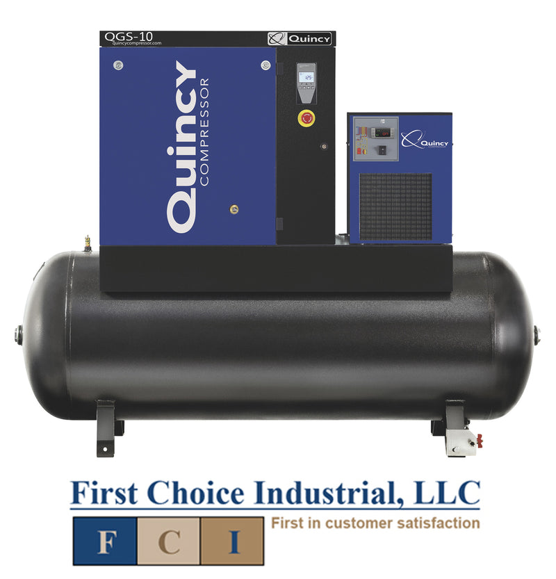 Belt Driven - 10Hp Rotary Screw Air Compressor - Quincy QGS 10