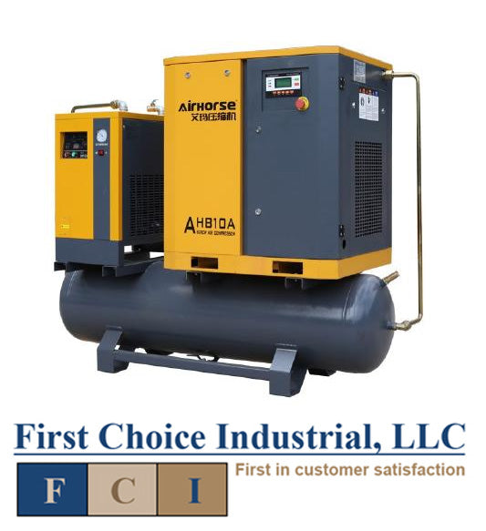 Belt Driven - 10 Hp Rotary Screw Air Compressor w/Refrigerated Dryer & Tank - Airhorse AHB-10A