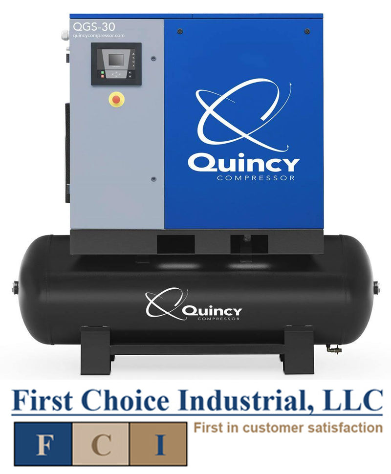 Belt Driven - 30 Hp Rotary Screw Air Compressor - Quincy QGS 30