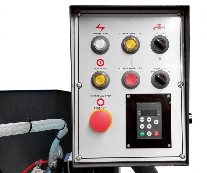 Cantek JF-330A Series Profile Grinder - Centralized control panel with VFD control for grinding wheel speed & digital speed readout