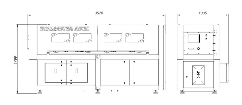 Edda Boxmaster 2500 Cardboard - Corrugated Box Making Machine, - Technical Drawing
