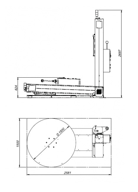 Edda Wraptor 1500 MB - Vertical - Turntable Pallet Stretch Wrapping Machine - Technical Drawing