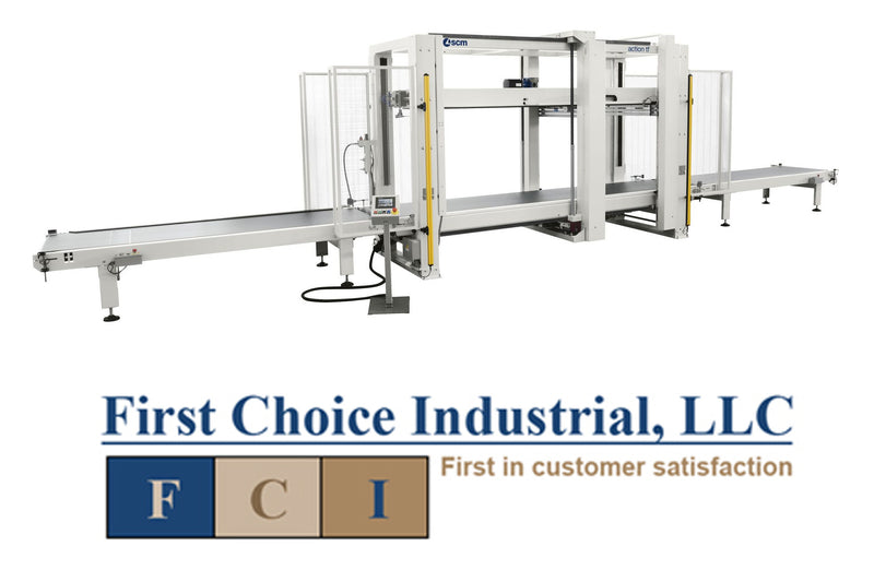 Through Feed Case Clamp w/2 Sidebeams & w/Infeed & Outfeed Conveyors - SCM CPC
