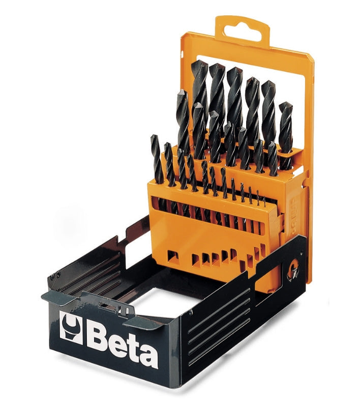 Set of 25 -Set of Beta Tools twist drills with cylindrical shanks in case