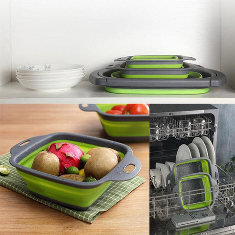 Green & Grey - Collapsible Colander/ Foldable Colander Drainer/ Food Strainer/ Save Space