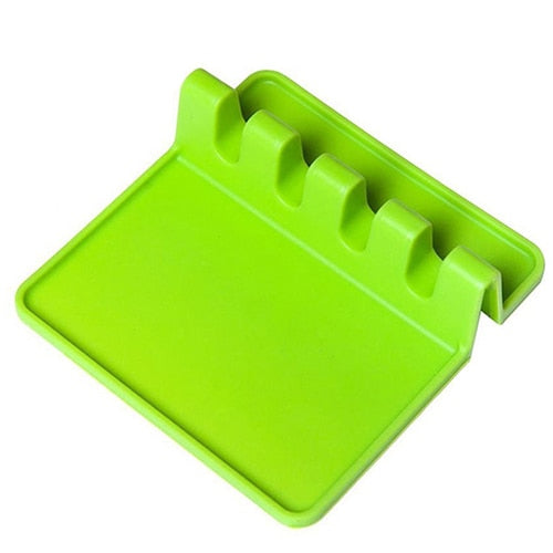 Green Eco-Friendly Silicone Spoon Rest & Pot Lid Holder