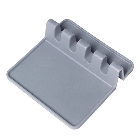 Grey Eco-Friendly Silicone Spoon Rest & Pot Lid Holder