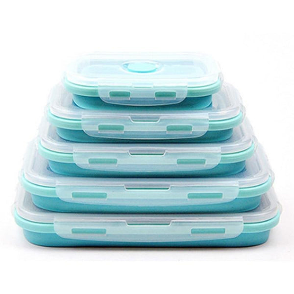 4pc Collapsible Silicone Food Container (Square)