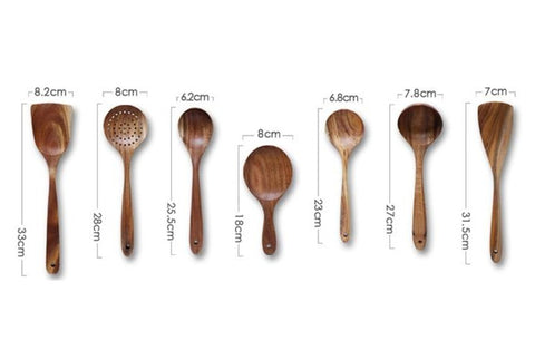 Dimensions of Natural Solid Wooden Cooking Utensils - Elite Kitchenwares