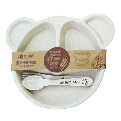 Beige Cartoon Bear Baby Bowl And Cutlery Set - Elite Kitchenwares