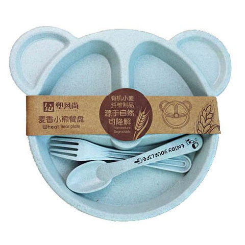 Blue Cartoon Bear Baby Bowl And Cutlery Set - Elite Kitchenwares