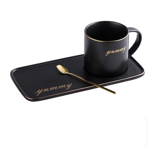 Gold Rim Ceramic Matte Finish Coffee Cup And Saucer Set