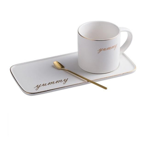 Gold Rim Ceramic Matte Finish Coffee Cup & Saucer Set - Elite Kitchenwares