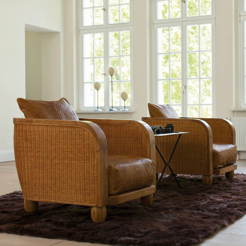 modern wickerwork armchair