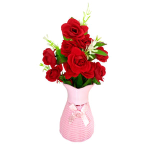 Plastic Vase with Rose bunch Pink (1 Piece)