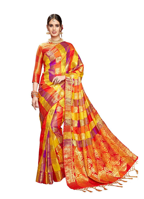 Generic Women's Uppada Art Silk Saree With Blouse (Multi, 5-6 Mtrs)