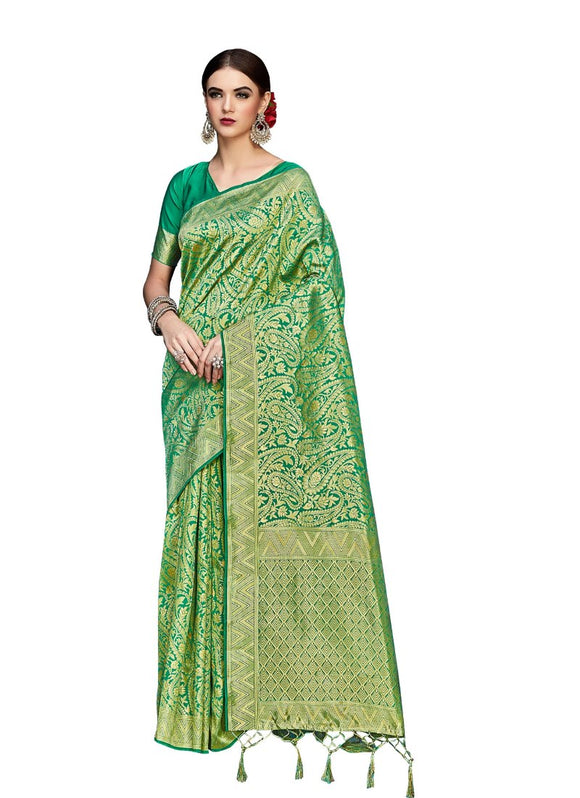 Generic Women's Banarasi Art Silk Saree With Blouse (Green, 5-6 Mtrs)