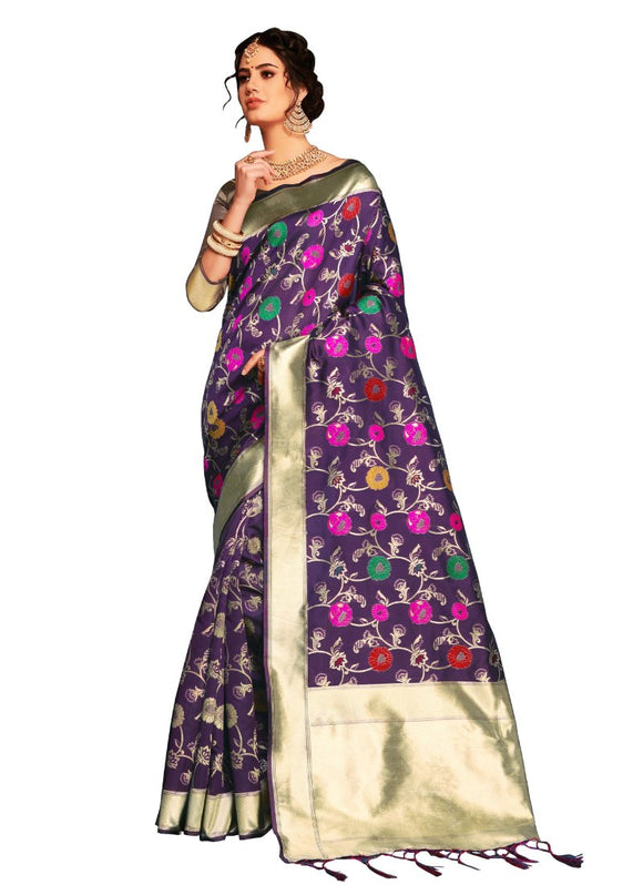 Generic Women's Banarasi Art Silk Saree With Blouse (Violet, 5-6 Mtrs)