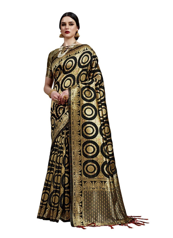 Generic Women's Banarasi Art Silk Saree With Blouse (Black, 5-6 Mtrs)