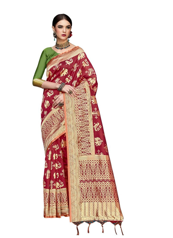 Generic Women's Banarasi Art Silk Saree With Blouse (Red, 5-6 Mtrs)
