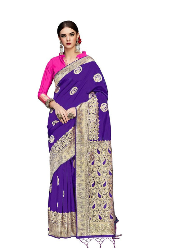 Generic Women's Banarasi Art Silk Saree With Blouse (Purple, 5-6 Mtrs)