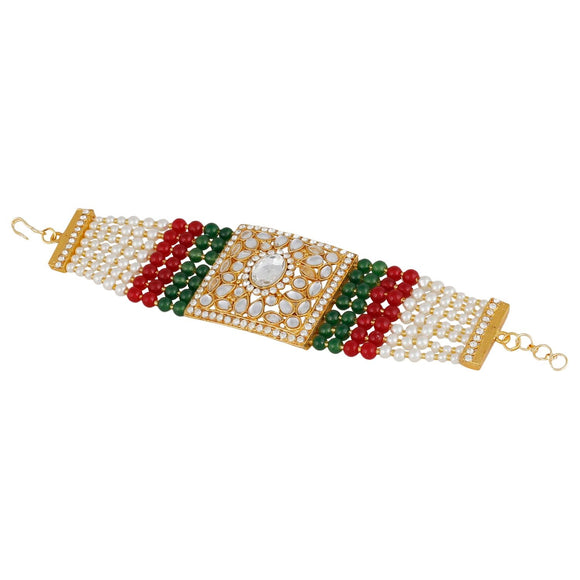 Generic Women's Gold Plated  Stone  Beads Bracelet-Golden,Whitw