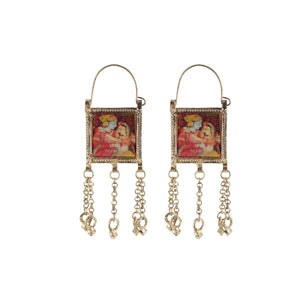 Generic Women's Alloy, silver Plated Hook Dangler Hanging Earrings-Multicolour