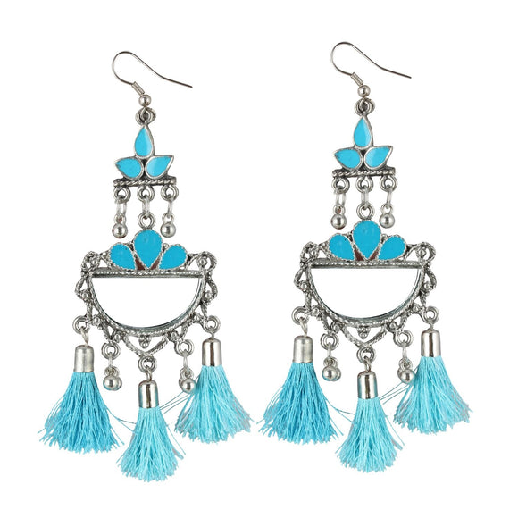 Generic Women's Oxidized Silver plated Firoji Tassels Earrings-silver, Blue