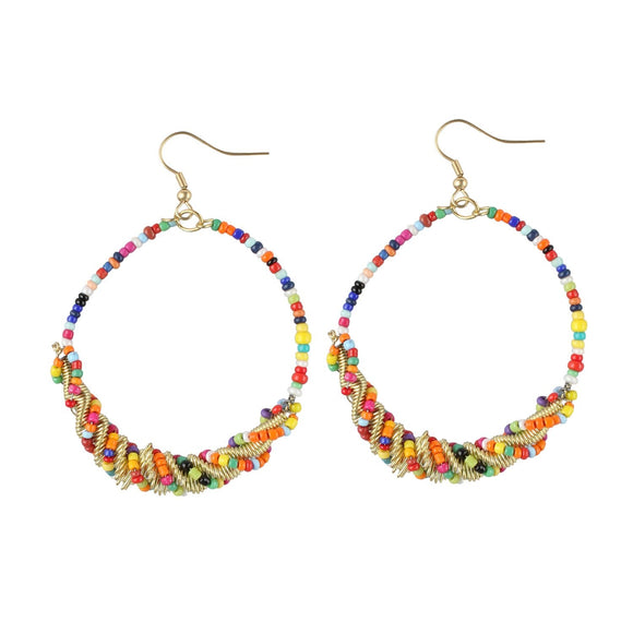 Generic Women's Alloy Designer Hanging Beads Earrings-Multicolour