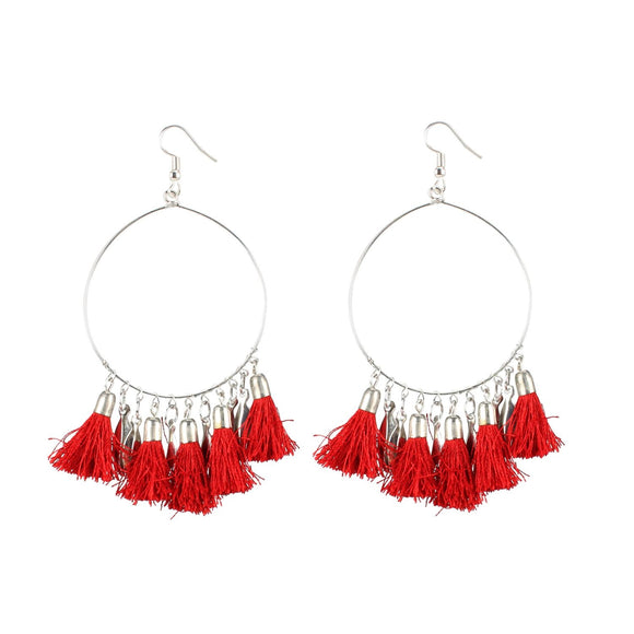 Generic Women's Alloy Hook Dangler Hanging Tassel Fashion Earrings-Red