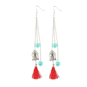 Generic Women's Oxidized Gold plated Hook Dangler Hanging Tassel Fashion Earrings-Golden