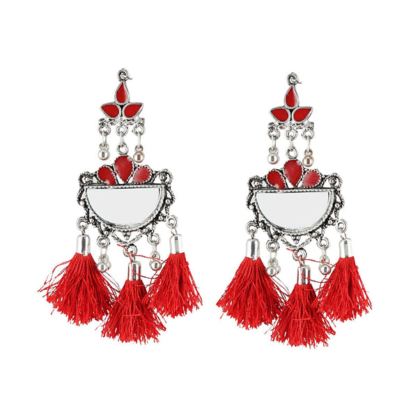 Generic Women's Oxidized Silver plated Hook Dangler Hanging Earrings-Red