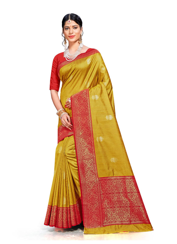 Generic Women's Banarasi silk Saree with Blouse (Yellow, 5-6mtr)