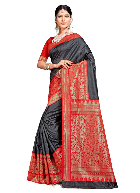 Generic Women's Banarasi silk Saree with Blouse (Black, 5-6mtr)
