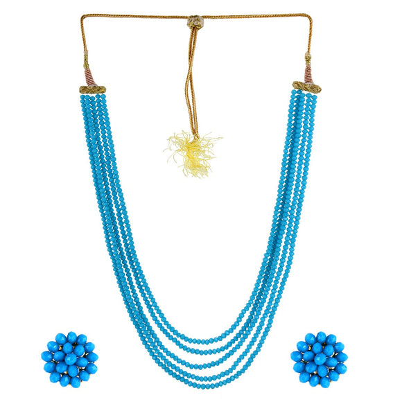 Five Layer Crystal Beads Necklace with Earrings