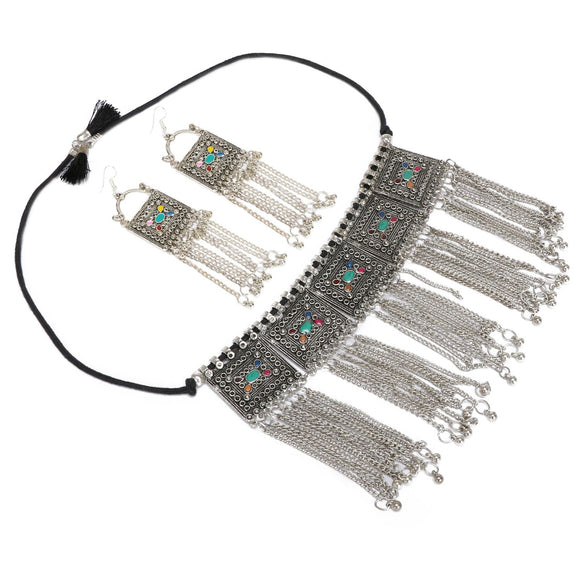 Sterling Silver Boho Afghani Turkish Necklace with Earrings