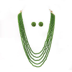 Crystal Dark Green Five Layer Necklace with Earrings Set